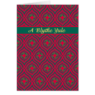 Christmas Red, Green Baubles, Scots Greeting Card