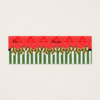 Christmas Red/Green Brocade Stripe Gift Tag
