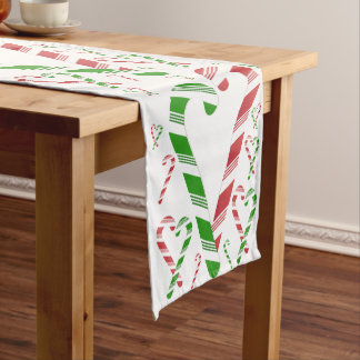 Christmas Red & Green Candy Cane Table Runner