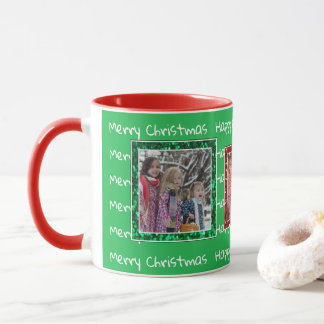 Christmas red green Personalized Photo Mug