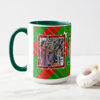 Christmas red green  Stars Personalized Photo Mug