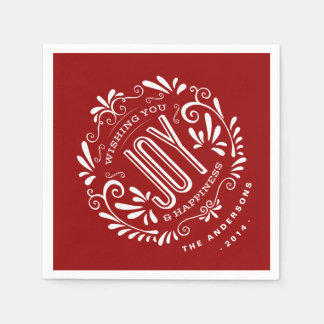 CHRISTMAS RED HOLIDAY JOY CHALKBOARD PERSONALIZED PAPER NAPKINS