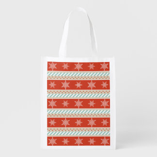 Christmas Red Mint Stripes Snowflakes Design Reusable Grocery Bag