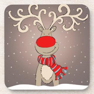 Christmas red-nosed reindeer set of 6 coasters