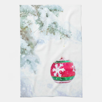 Christmas red ornament pine white snow classic kitchen towel