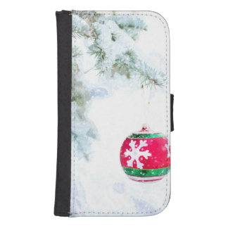 Christmas red ornament white snow classic samsung s4 wallet case