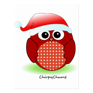 Christmas Red Owl Post Cards