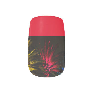 Christmas Red Palm Tree with Red Nail Tips Minx Nail Art