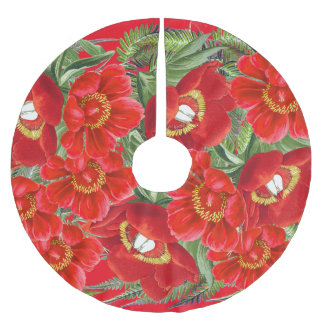 Christmas Red Peony Flowers Floral Tree Skirt Brushed Polyester Tree Skirt