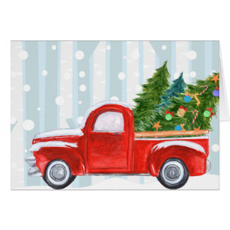 Christmas Red PickUp Truck on a Snowy Road Card