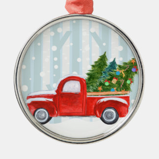 Christmas Red PickUp Truck on a Snowy Road Metal Ornament
