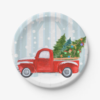 Christmas Red PickUp Truck on a Snowy Road Paper Plate