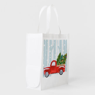 Christmas Red PickUp Truck on a Snowy Road Reusable Grocery Bag