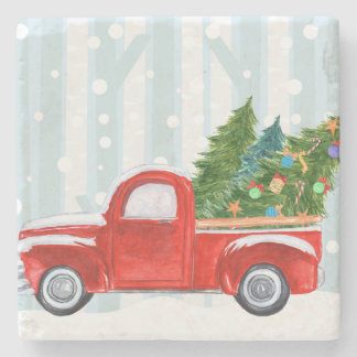 Christmas Red PickUp Truck on a Snowy Road Stone Coaster