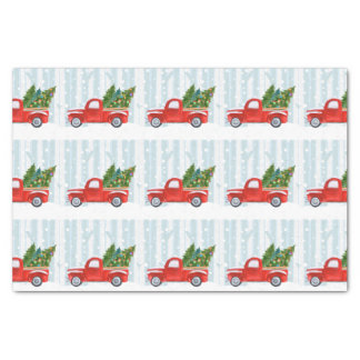 Christmas Red PickUp Truck on a Snowy Road Tissue Paper