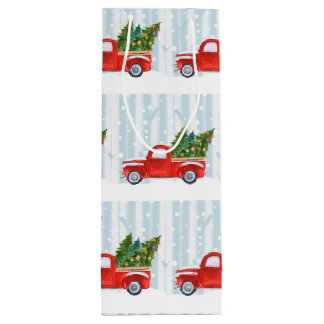 Christmas Red PickUp Truck on a Snowy Road Wine Gift Bag
