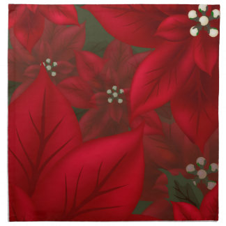 Christmas Red Poinsettia Cloth Napkin