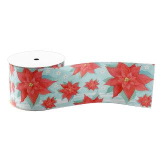 Christmas red poinsettia grosgrain ribbon