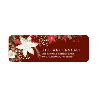 Christmas Red Poinsettia & Pine Return Address Return Address Label