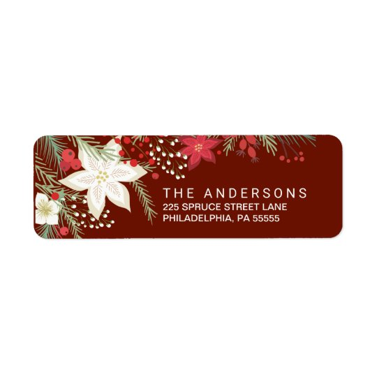 Christmas Red Poinsettia & Pine Return Address Return Address Label