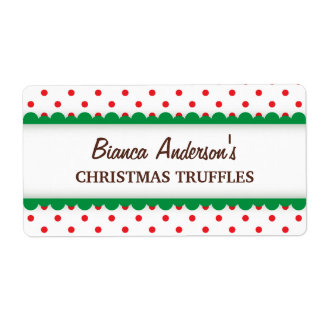 Christmas red polka dots canning jar label shipping label