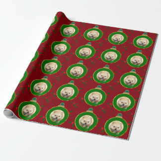 Christmas Red Pomeranian puppy wrapping paper