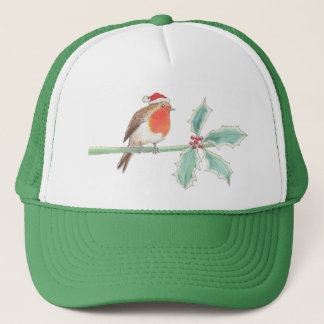 Christmas Red Robin on Holly Trucker Hat