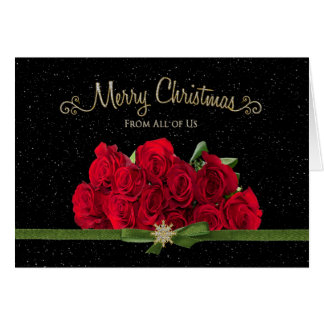 Christmas - Red Roses - From all of us - Snowing - Card