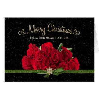 Christmas - Red Roses - Our Home to Yours-Snowing Card