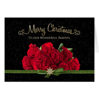 Christmas - Red Roses - Our Parents - Snowing - Card