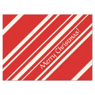 Christmas Red White Candy Cane Stripe Tissue Paper