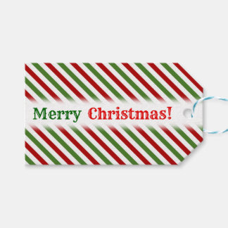 Christmas; Red, White & Green Striped Pattern Gift Tags