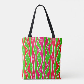 CHRISTMAS RED, WHITE & GREEN STRIPES TOTE BAG
