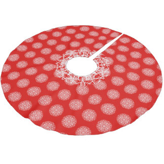 Christmas Red   White Pretty Snowflake Design Brushed Polyester Tree Skirt