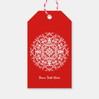 Christmas Red | White Pretty Snowflake Design Gift Tags
