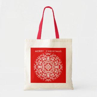 Christmas Red | White Pretty Snowflake Design Tote Bag