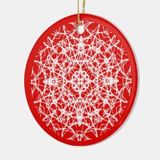 Christmas Red   White Pretty Snowflake Photo Ceramic Ornament
