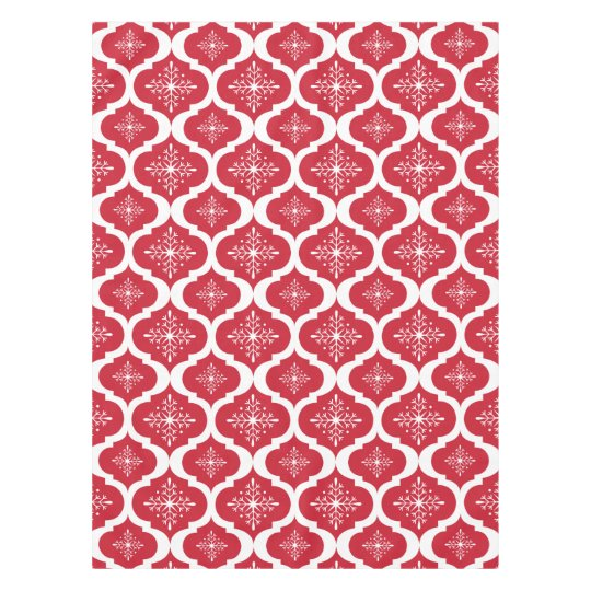 Christmas Red White Snowflakes Lattice Pattern Tablecloth