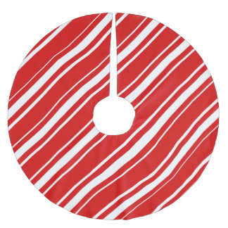 Christmas Red White Stripes Candy Cane Tree Skirt