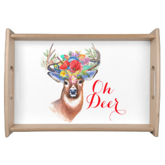 Christmas Reindeer 2017 | Red Typography Serving Tray