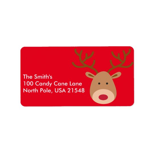 Christmas Reindeer Address Labels Personalize