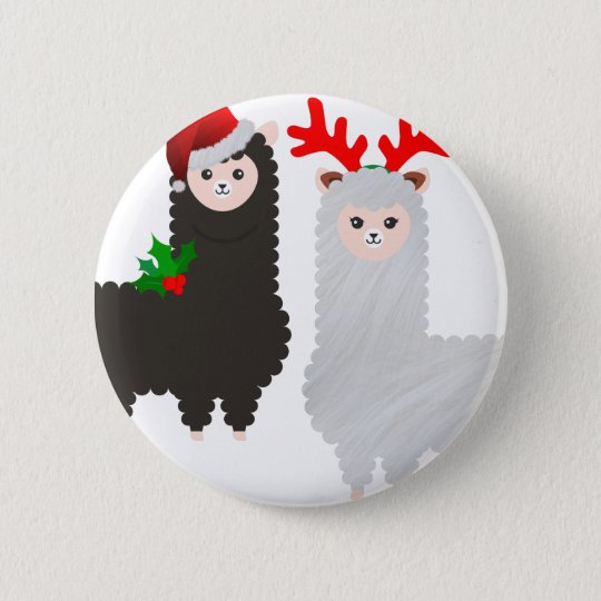 christmas reindeer alpacas 2 inch round button