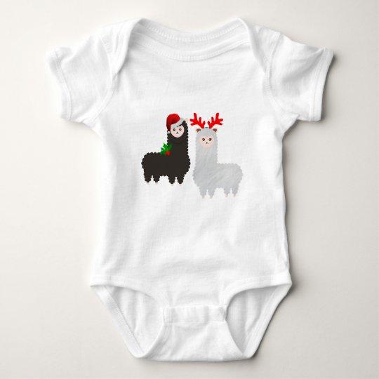 christmas reindeer alpacas baby bodysuit