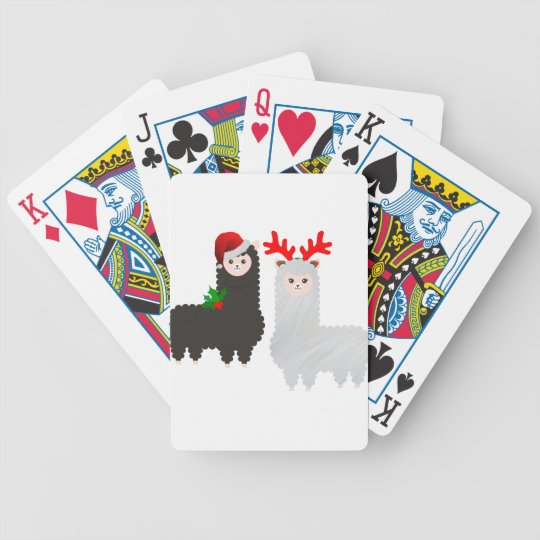 christmas reindeer alpacas bicycle playing cards
