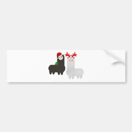 christmas reindeer alpacas bumper sticker