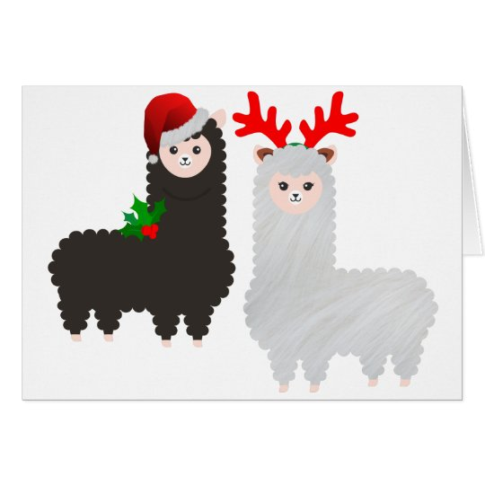 christmas reindeer alpacas card