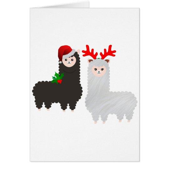 christmas reindeer alpacas card