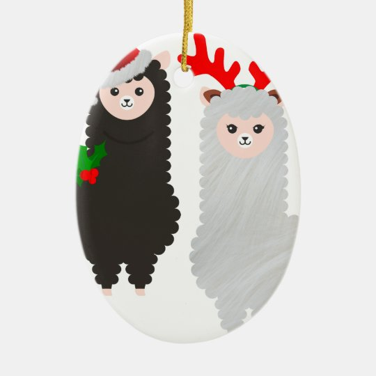 christmas reindeer alpacas ceramic ornament