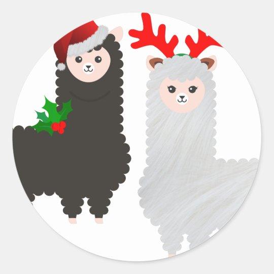 christmas reindeer alpacas classic round sticker