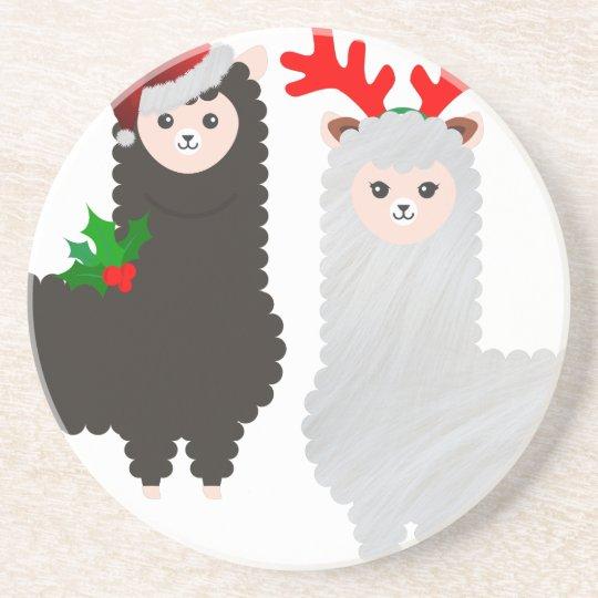 christmas reindeer alpacas coaster